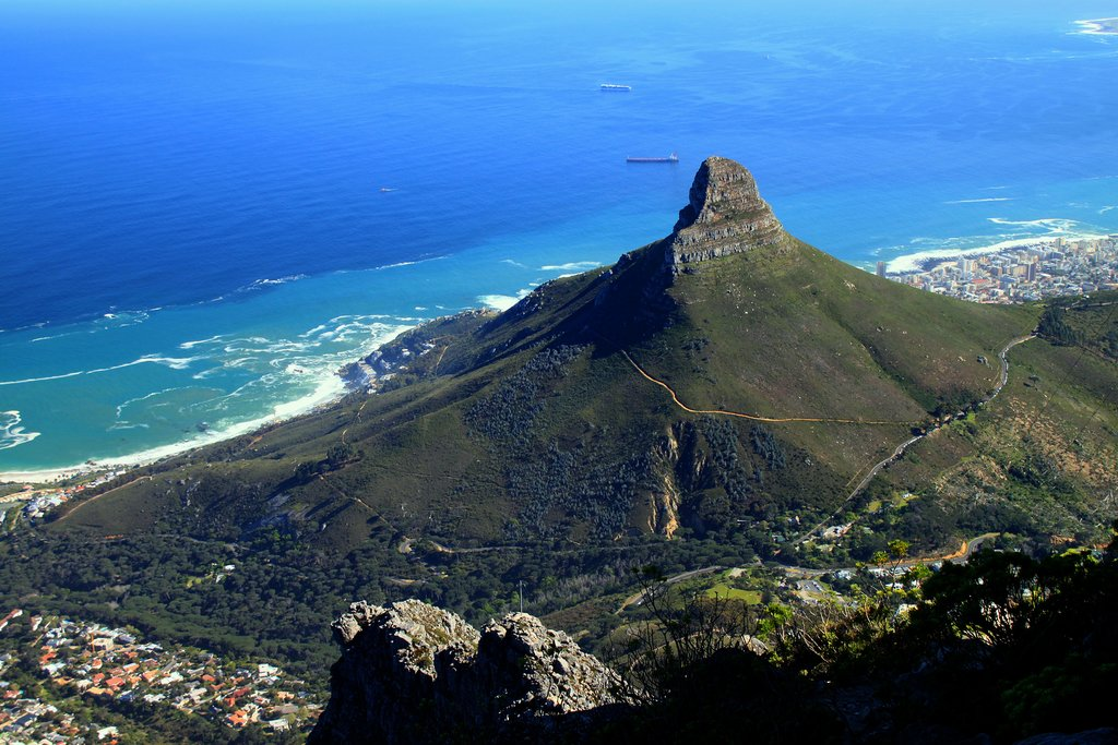 A view of Lion's Head from the top of Table Mountain