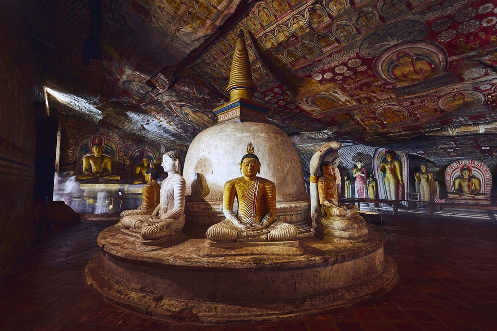 There are 153 statues of the Buddha in the Dambulla cave temple