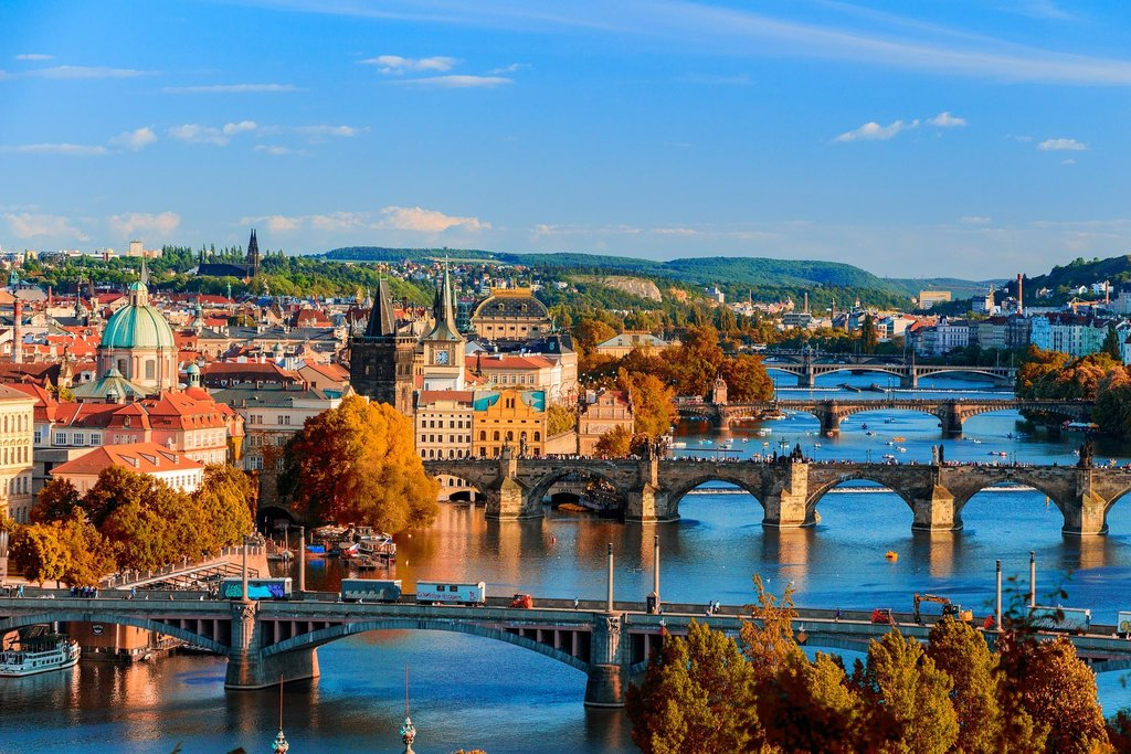 Prague and its many bridges over the Vltava
