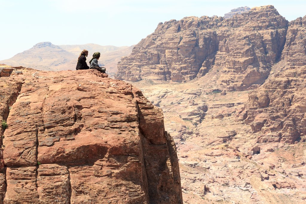 A viewpoint from a rock in Petra