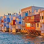 Mykonos' Little Venice neighborhood