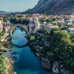 Stari Most and surrounding Mostar