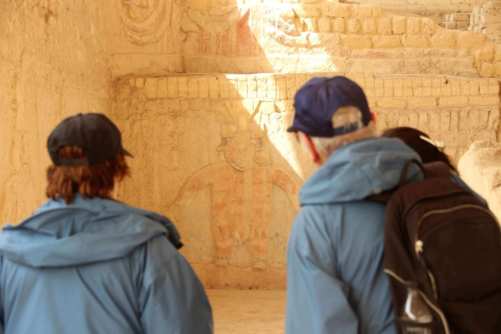 Visitors exploring the temple