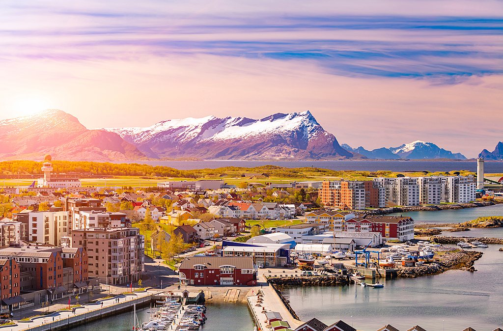 The coastal town of Bodø is where you'll catch the ferry