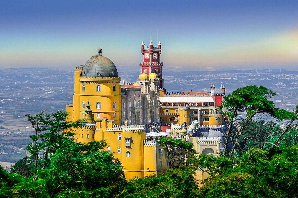 The striking yellow and red Pena National Palace