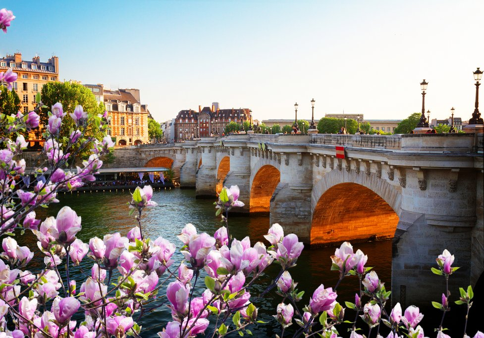 France - Spring view of Paris' historic Pont Neuf and the river Seine
