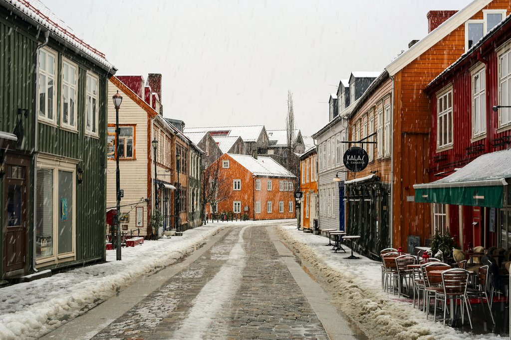 Trondheim streetview in winter