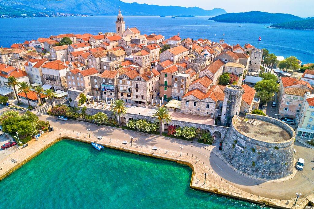 Aerial View of Korčula Town
