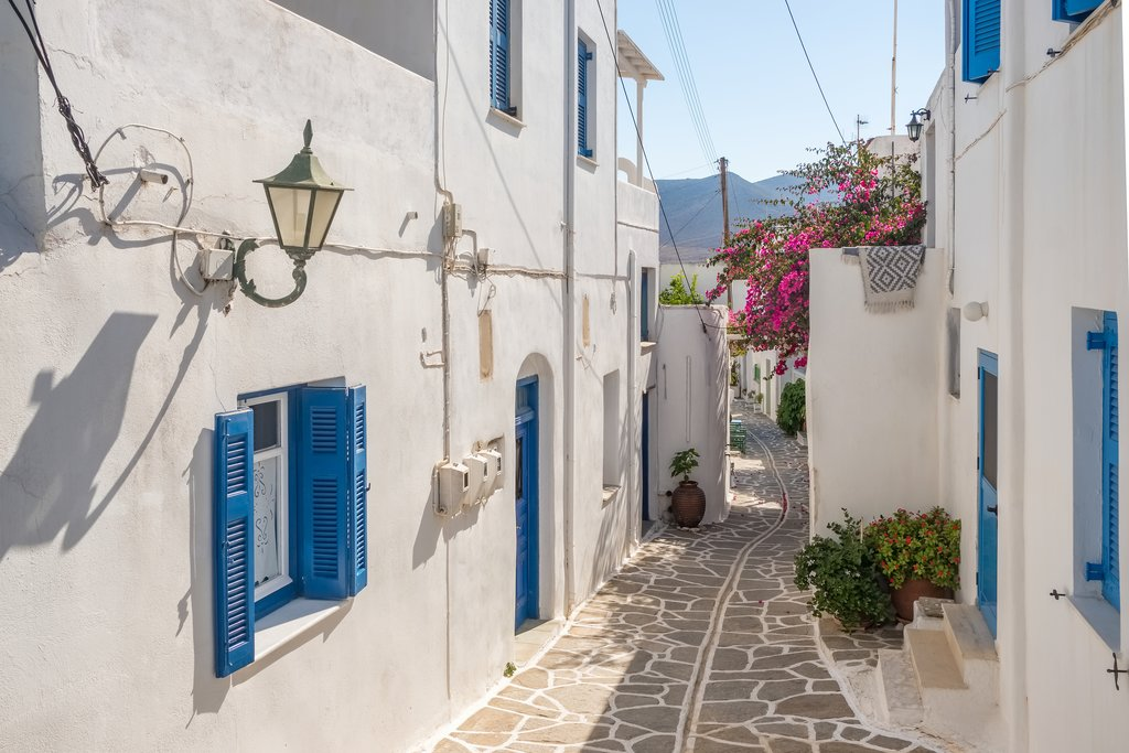 A typical narrow street in Paros