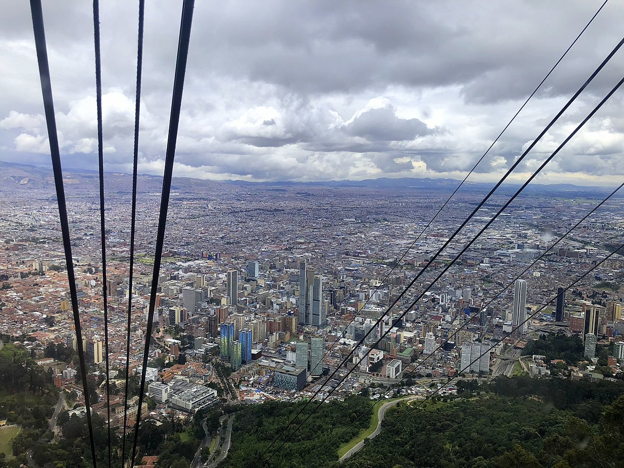 View and cable car in Monserrate
