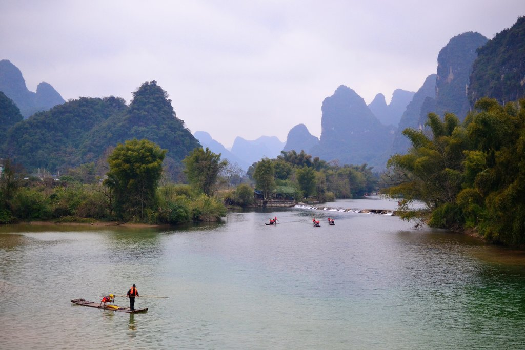 Bamboo rafts on the Li River