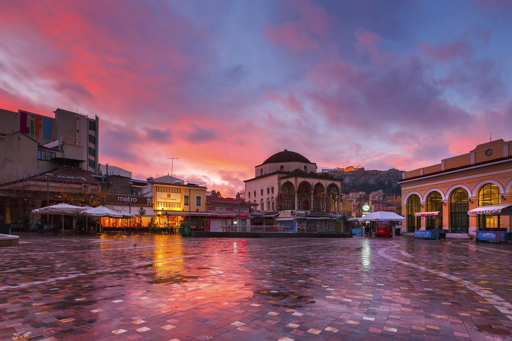 Monastiraki Square at sunset