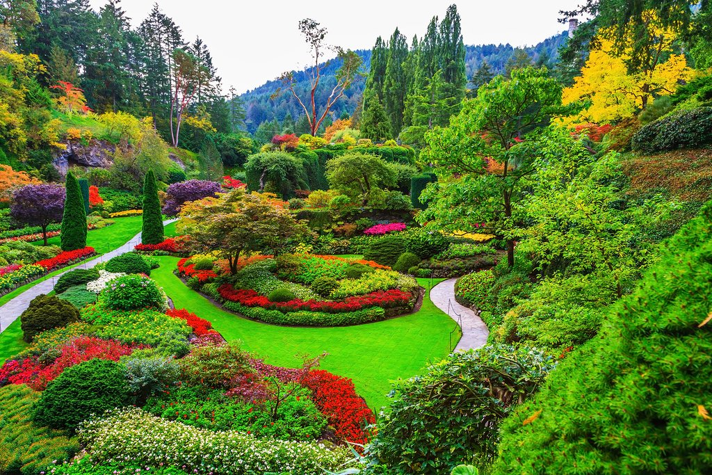 Sunken Garden at colorful Butchart Gardens