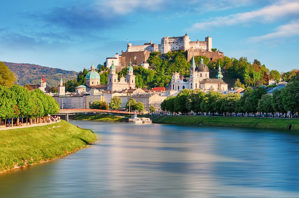 Festung Hohensalzburg watches over the Salzach River and Salzburg