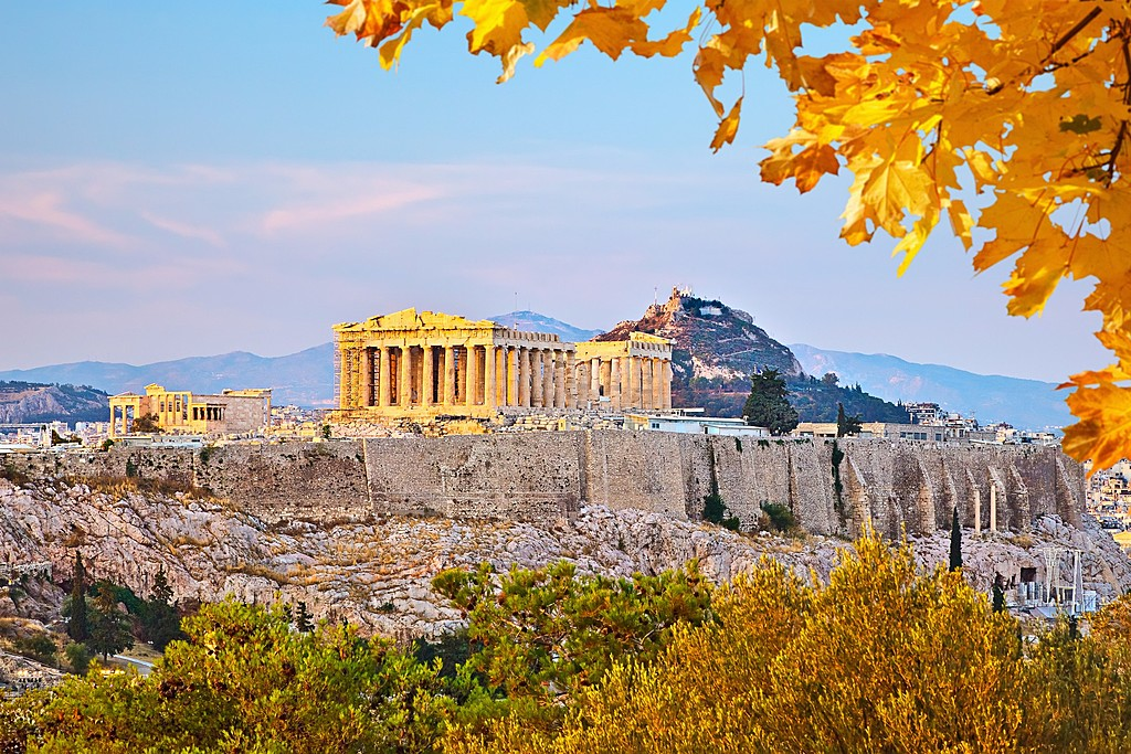 Sunrise over the Acropolis.