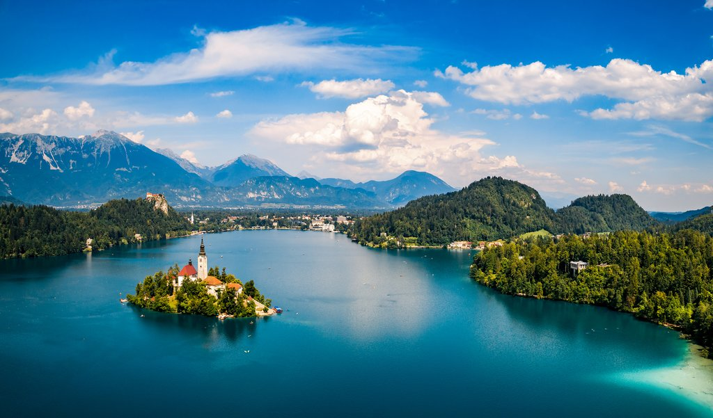 An aerial view of Lake Bled