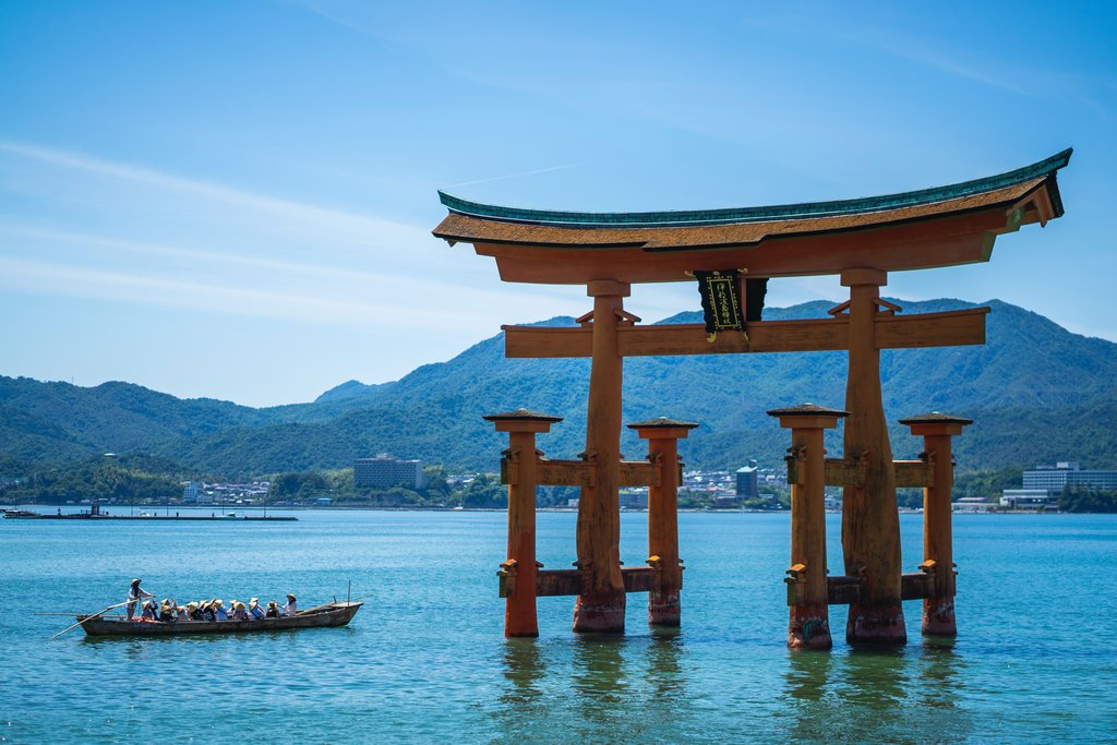 Red torii gates in the waters of Miyajima.