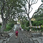 Stairs leading up to the front entrance of Swayambhunath