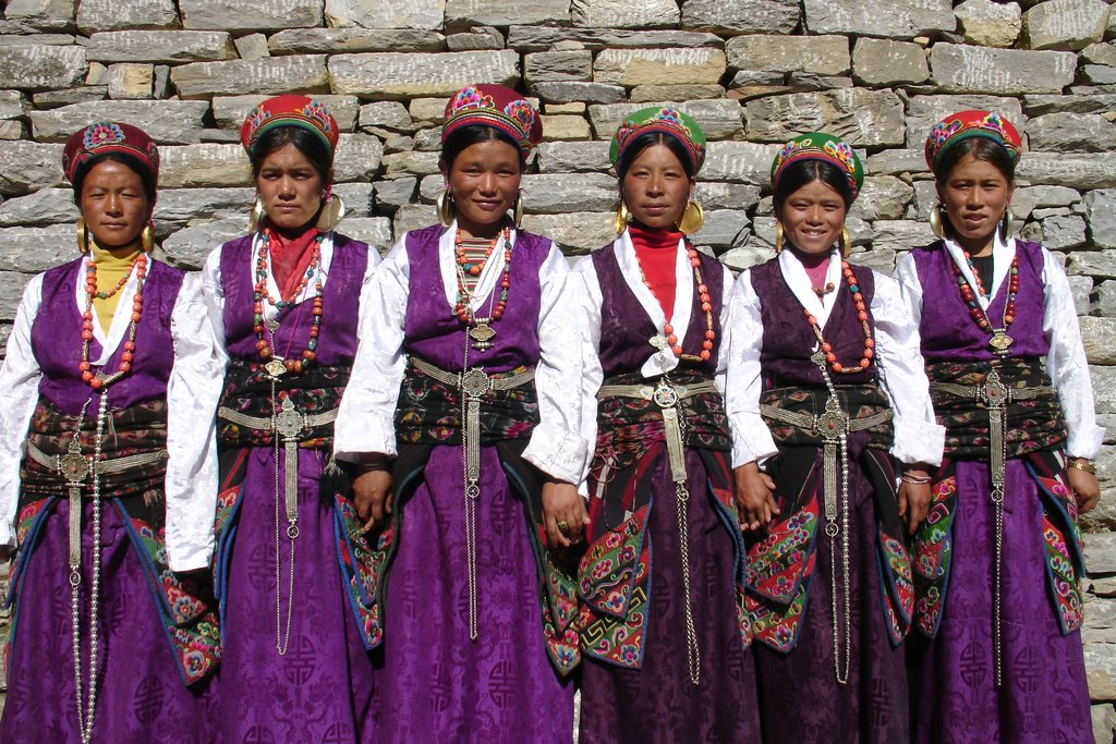 Tamang women in traditional dress