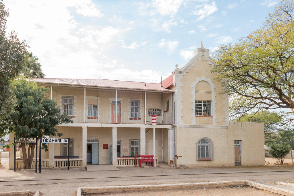 The historic railway station building in Okahandja