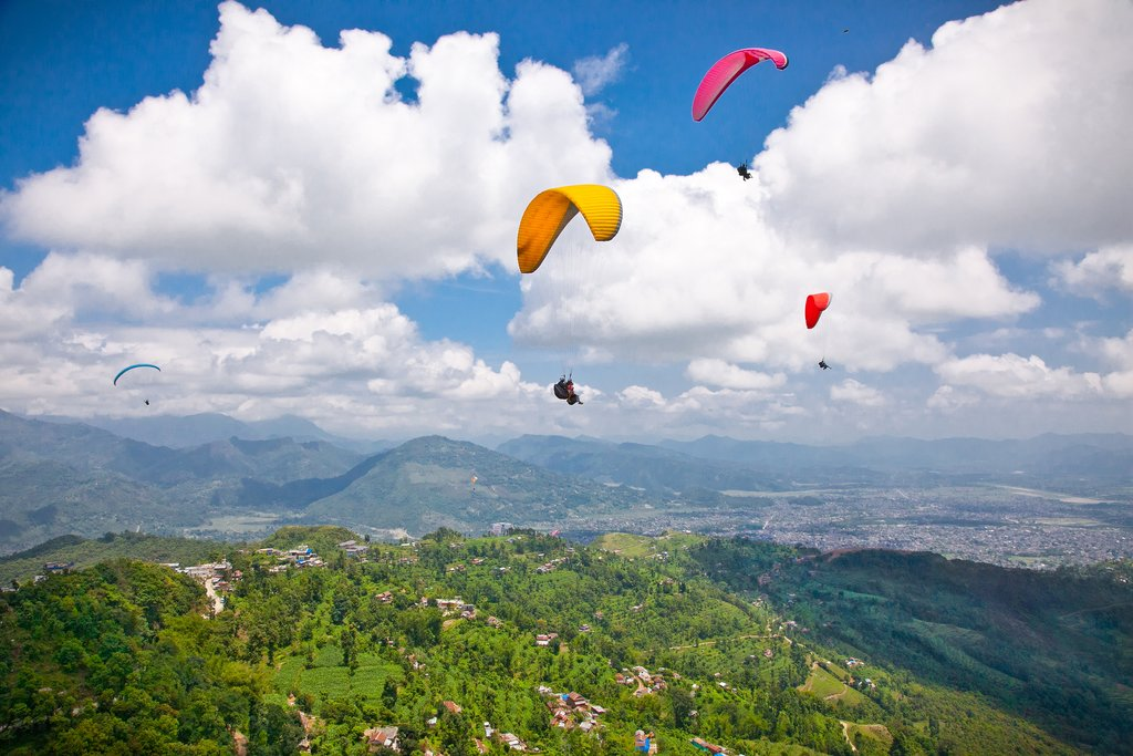 Paragliders taking off from Sarangkot Hill
