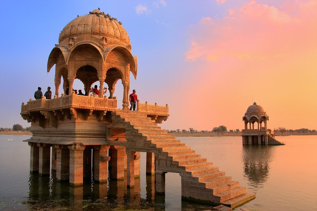 The Gadsisar Lake in Jaisalmer is the perfect spot for sunset