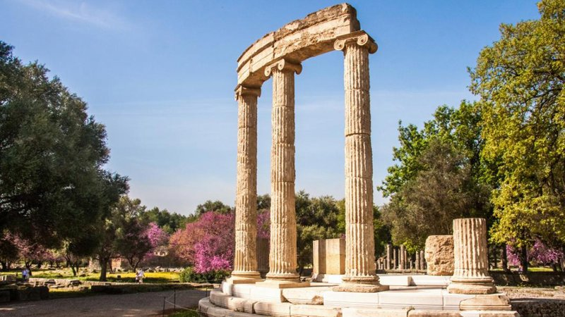 Ancient columns stand in Olympia
