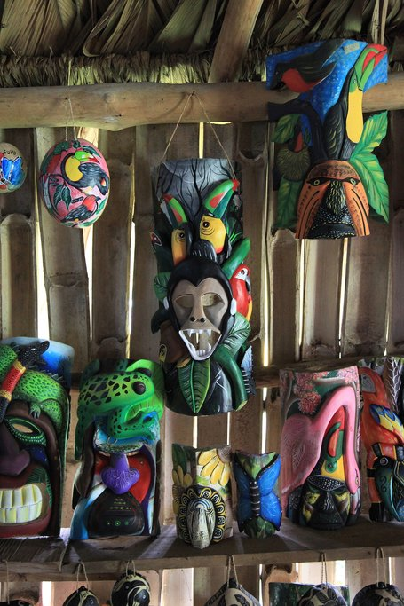 Balsa wood carved masks in a Maleku village