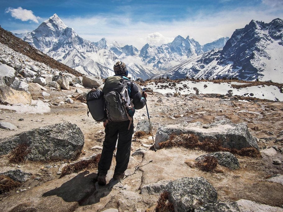 A trekker makes his way to Everest Base Camp