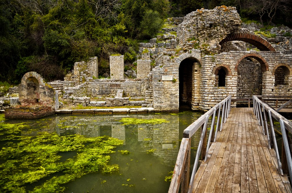 The Butrint archaeological site is part of an ancient town