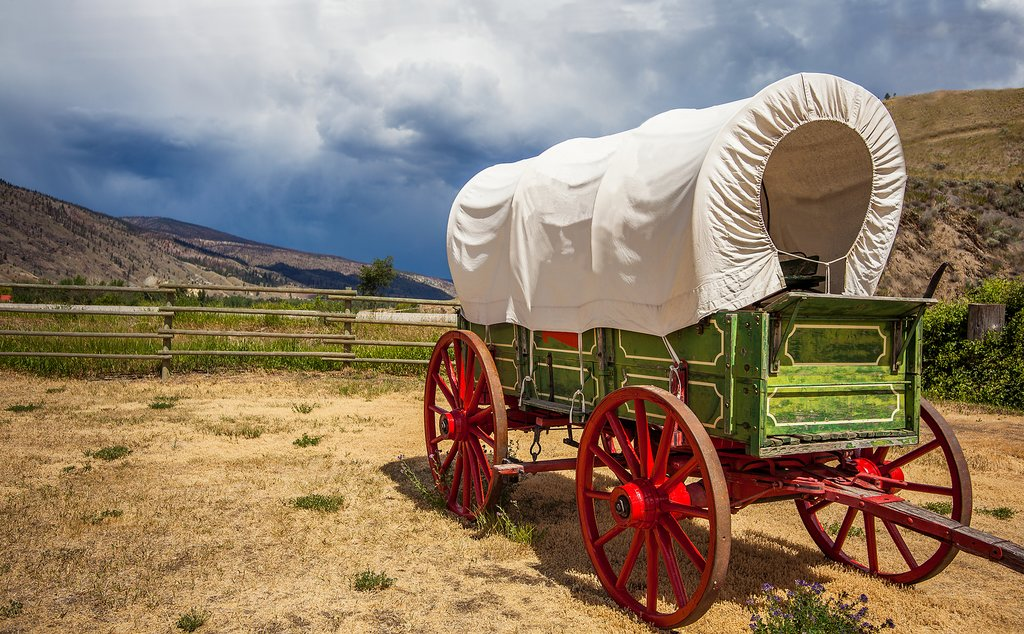 An old pioneer wagon