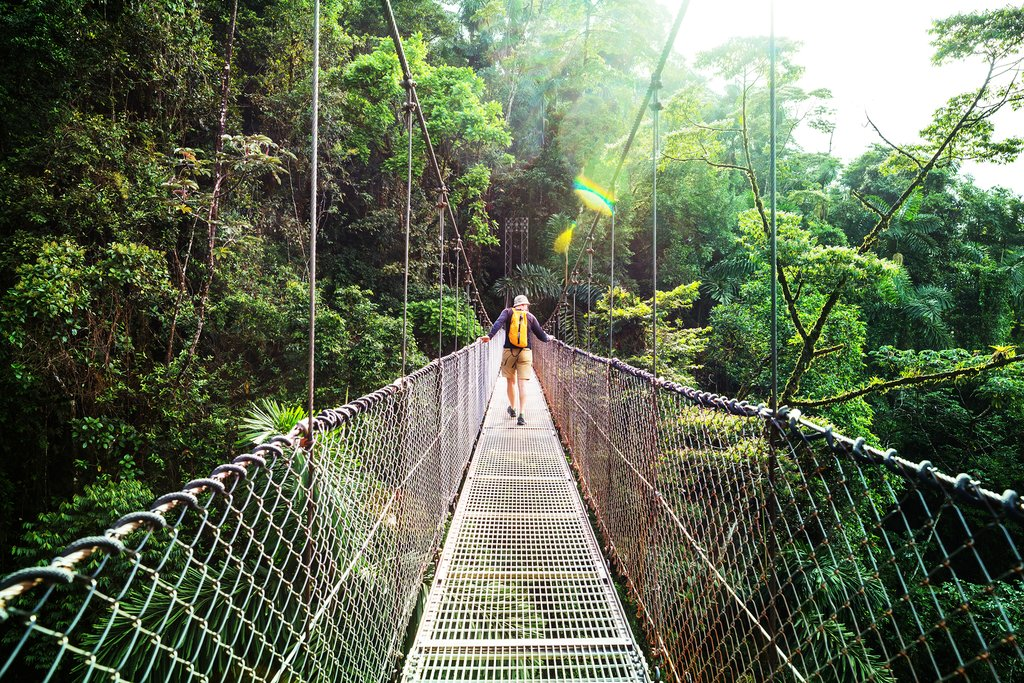Hanging bridge in the jungle surrounding Arenal Volcano