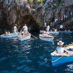 Boats waiting to enter the Blue Grotto, Capri