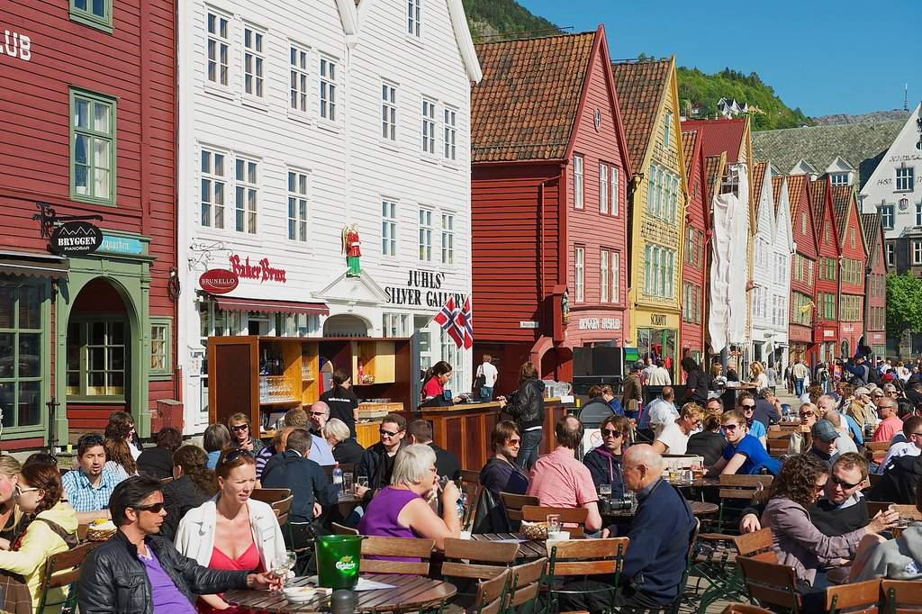 Outdoor seating in Bergen on a summer day