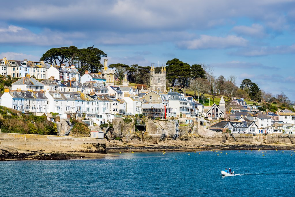 Bright sunshine over the seaside town of Fowey.