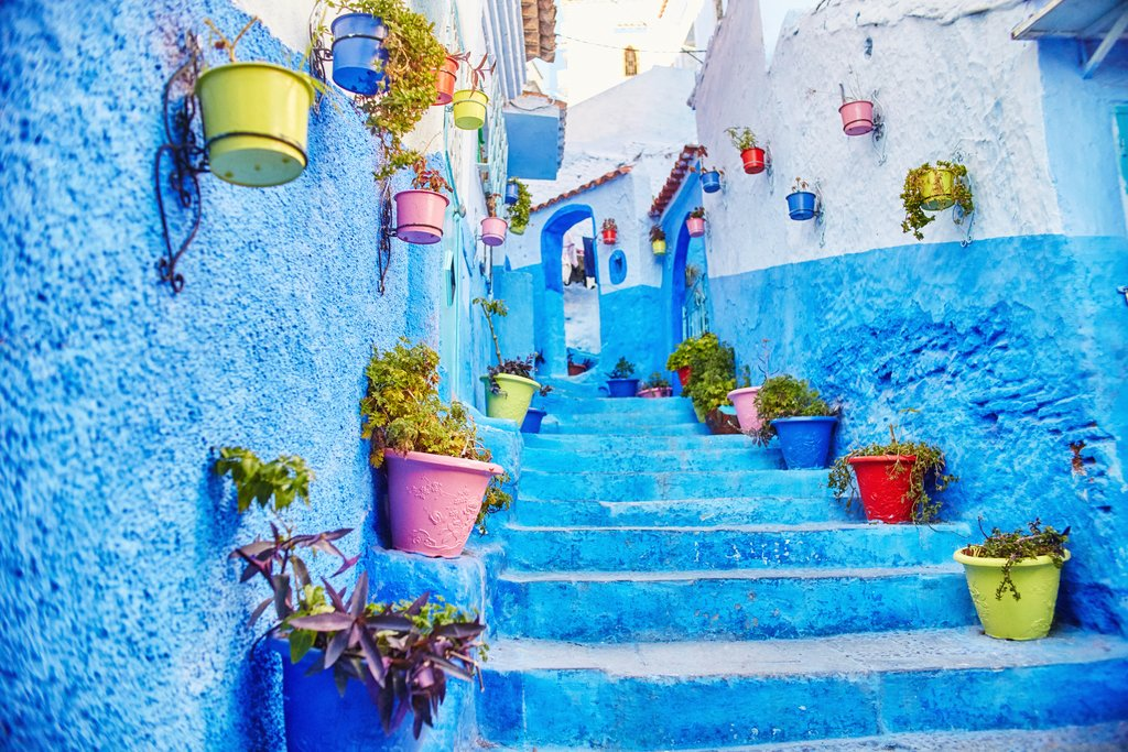 Wander the stunning blue streets