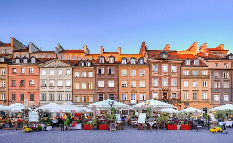 City square in Warsaw, Poland