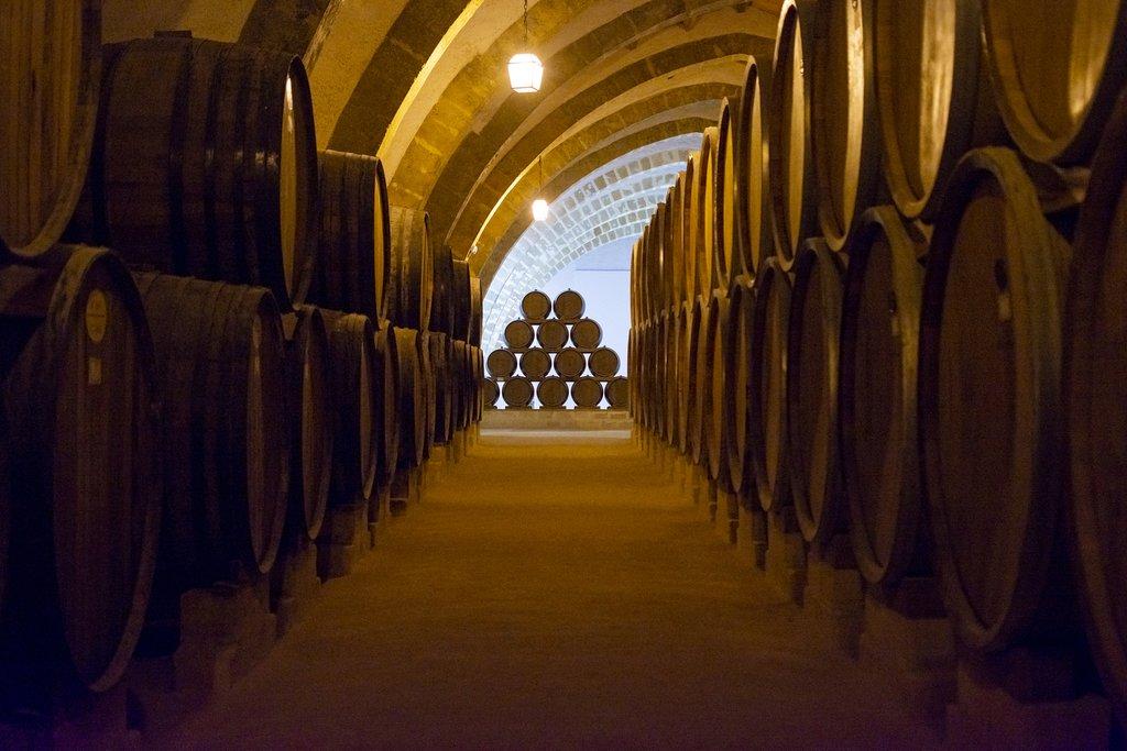 Italy - Sicily - Wine barrels in a vintage cellar in Marsala