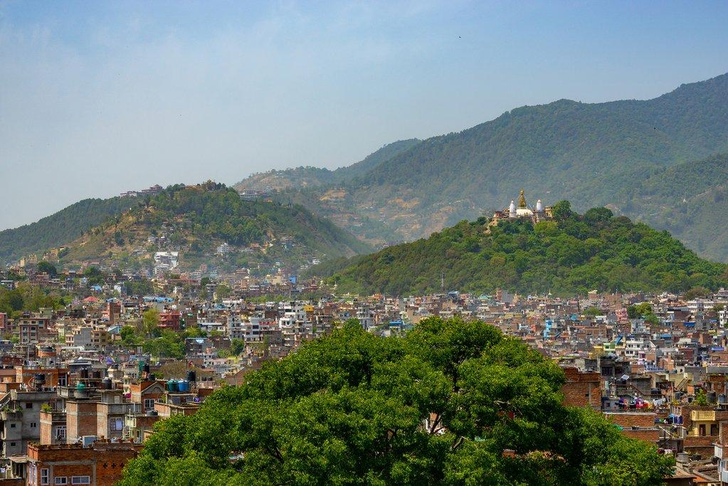 The cityscape of Kathmandu and Boudhanath Stupa, Nepal