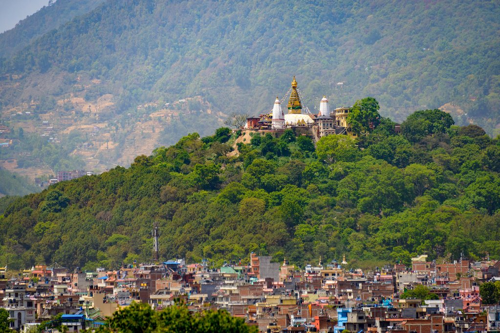 Swayambhunath perched high above the valley