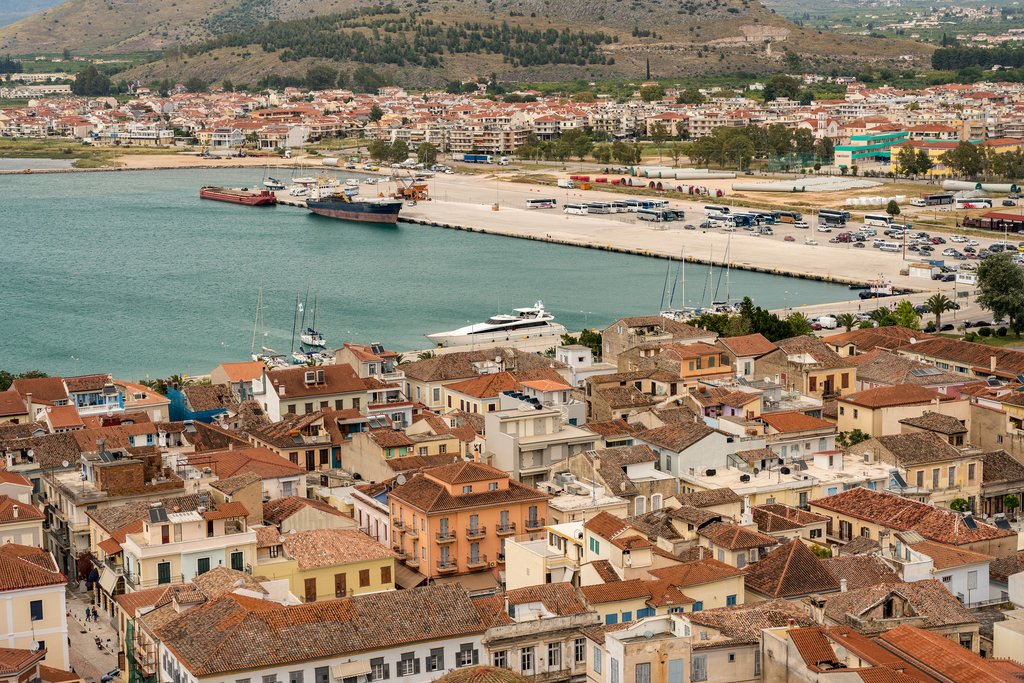 Aerial View of Nafplio and its Bustling Port