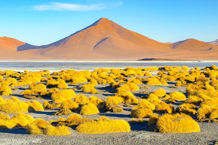 Mountain peaks at Laguna Colorada in Bolivia