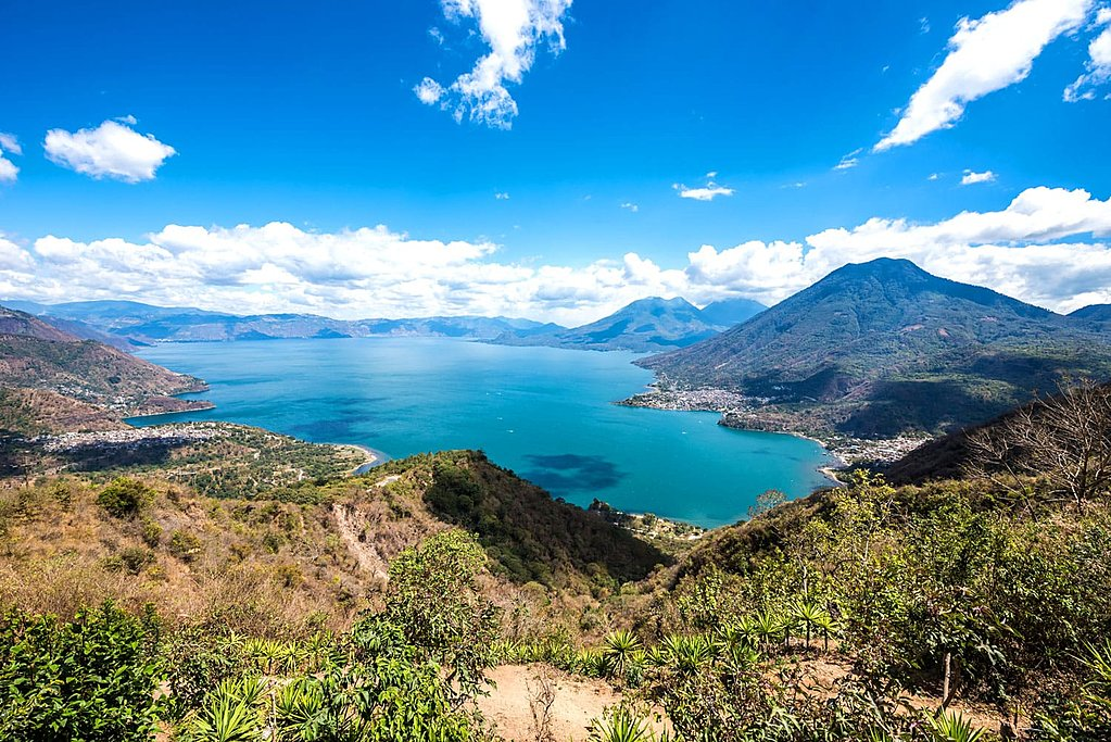 Blue skies over Lake Atitlán.