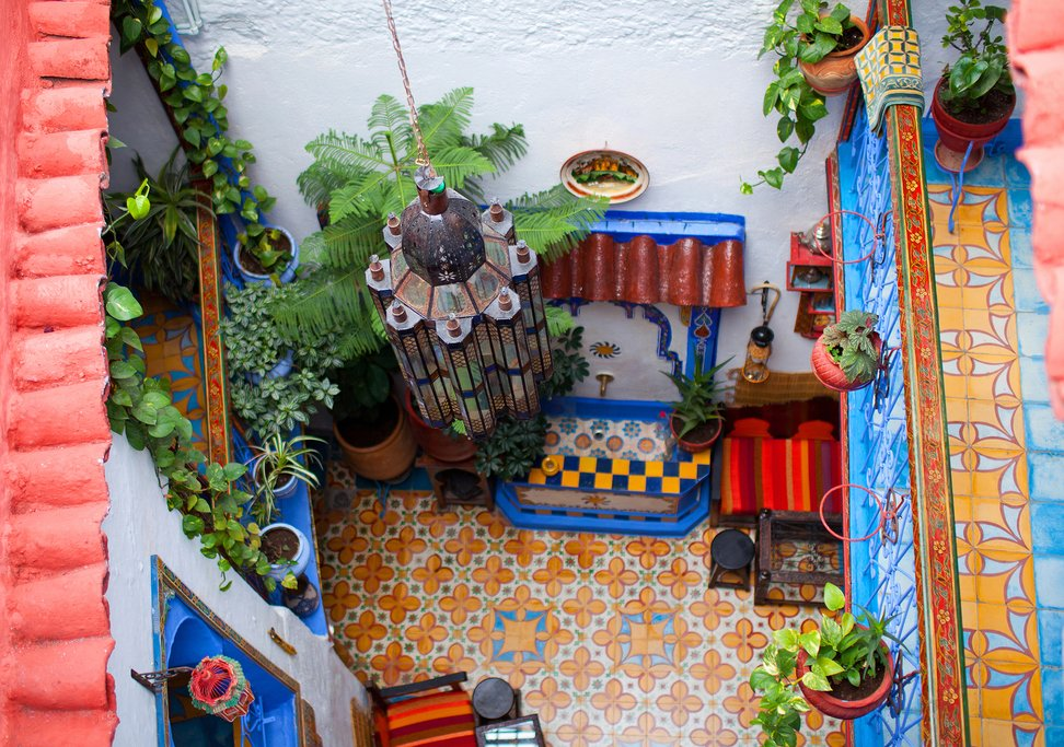 The courtyard of a traditional riad in Chefchaouen, Morocco