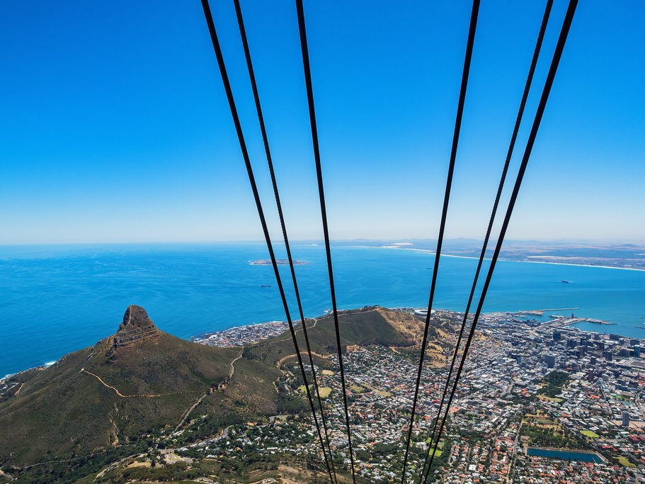 Looking down the cableway