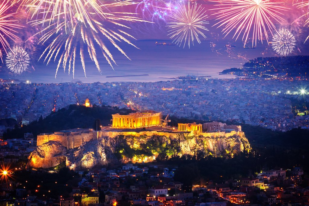 New Year's Eve in Athens is celebrated with fireworks