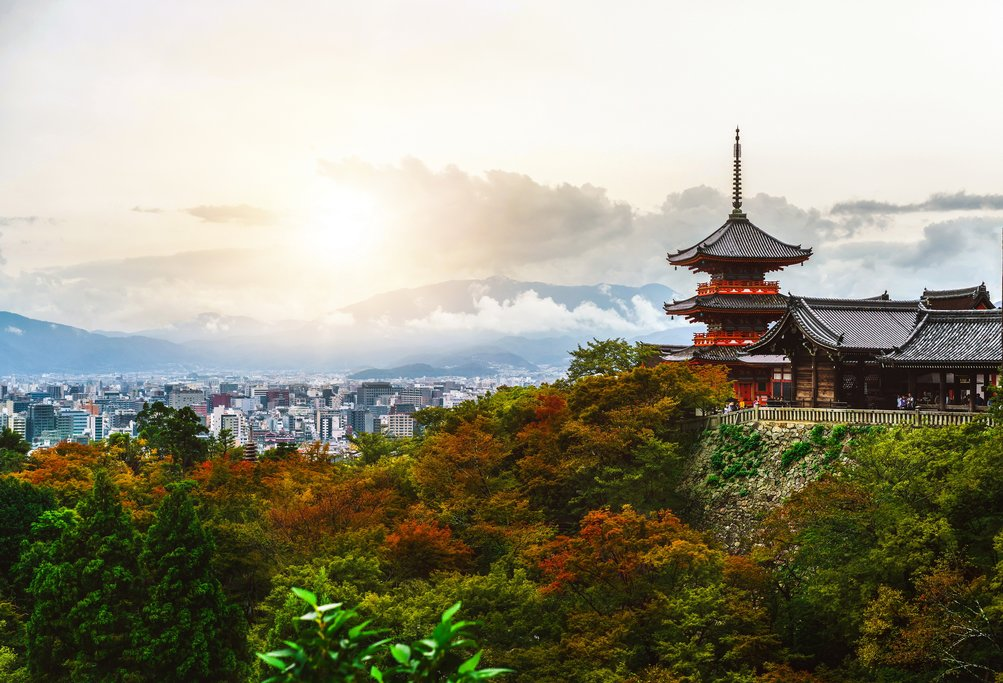 Kiyomizu-dera Temple and the Kyoto Skyline, Japan