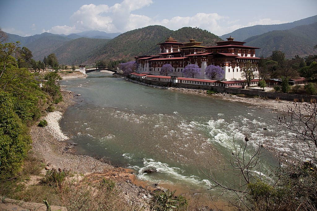 A Bhutanese temple on the bank of a river