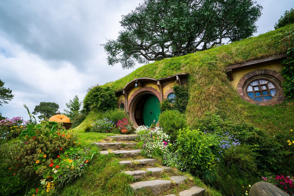 New Zealand - Matamata - Hobbiton movie set created for filming The Lord of the Rings and The Hobbit movies in North Island