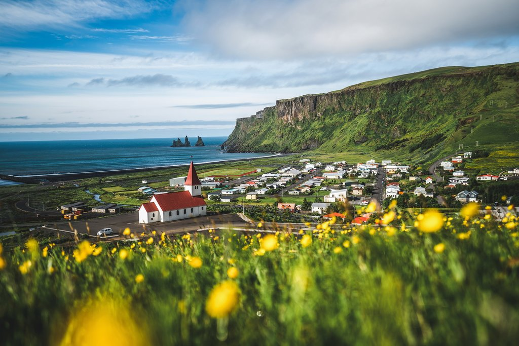 The village of Vik, Iceland in Summer